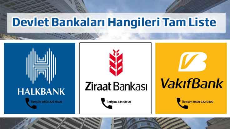 Devlet Bankaları Hangileri Tam Liste