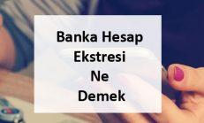 Banka Hesap Ekstresi Ne Demek